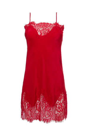 The Coco Lace Silk Tunic in red.