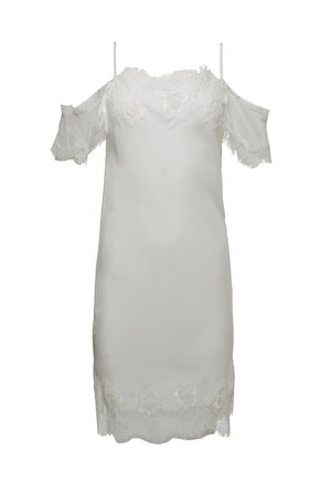 The Gigi Lace Silk Dress in white.