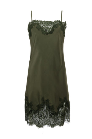The Coco Lace Silk Tunic in olive.