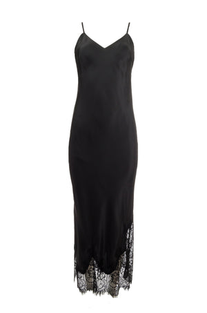 The Long Silk Lace Slip Dress in black.
