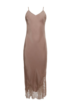 The Long Silk Lace Slip Dress in rose taupe.