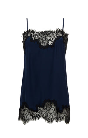 The Coco Lace Silk Straight Cami in navy with black lace.