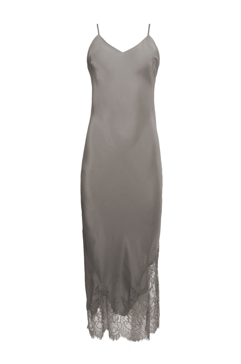 The Long Silk Lace Slip Dress in steeple grey.