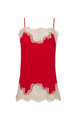 The Coco Lace Silk Straight Cami in red with sand shell lace.