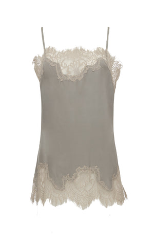 The Coco Lace Silk Straight Cami in steeple grey with birch lace.