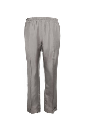 The Silk Twill Cuff Pants in steeple grey.