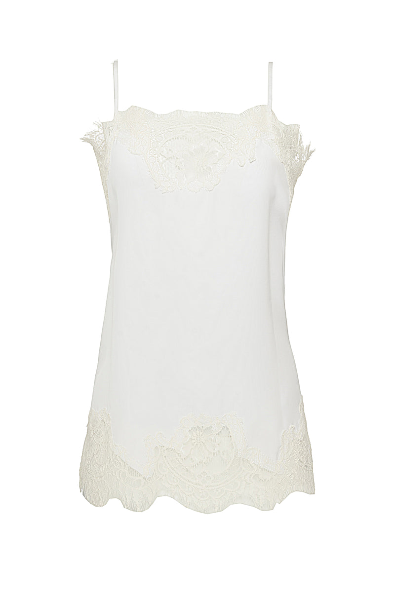 The Coco Lace Silk Straight Cami in white with dove lace.