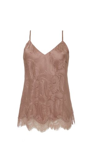 The Emma Silk Jacquard Cami in rose taupe.