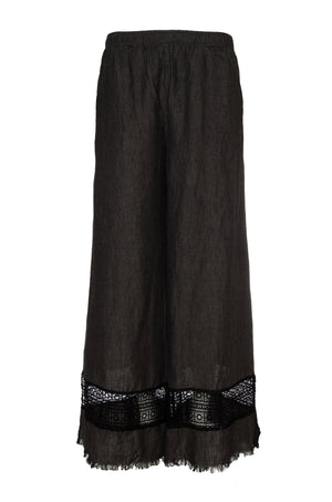 The Capri Lace Linen Pants in black.