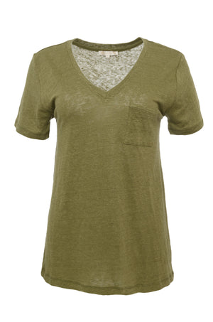 The V-Neck Linen Pocket Tee in olive.
