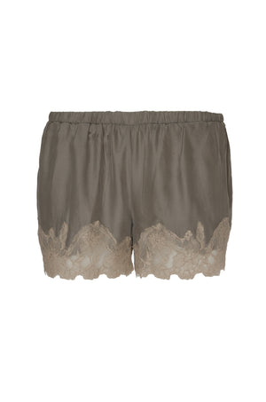 The Marilyn Lace Silk Shorts in steeple grey with birch lace.