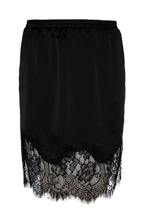 The Hammered Silk Lace Skirt in black.