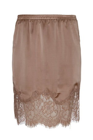 The Hammered Silk Lace Skirt in rose taupe.