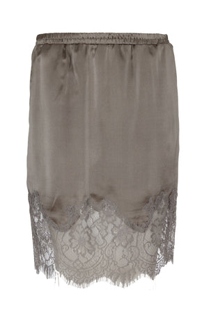 The Hammered Silk Lace Skirt in steeple grey.