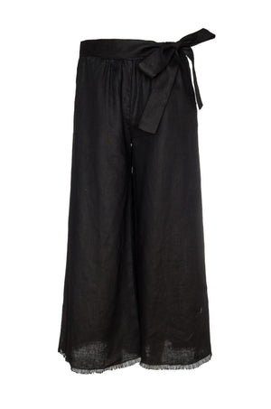 The Wide Leg Linen Belted Pants in black.