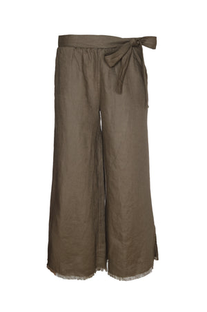 The Wide Leg Linen Belted Pants in grey.