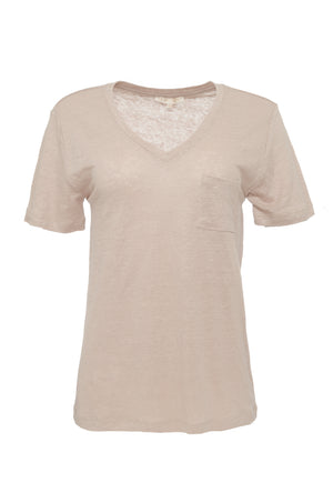 The V-Neck Linen Pocket Tee in sand shell.
