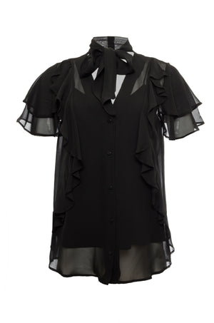 The Ruffle Self-Tie Top in black.