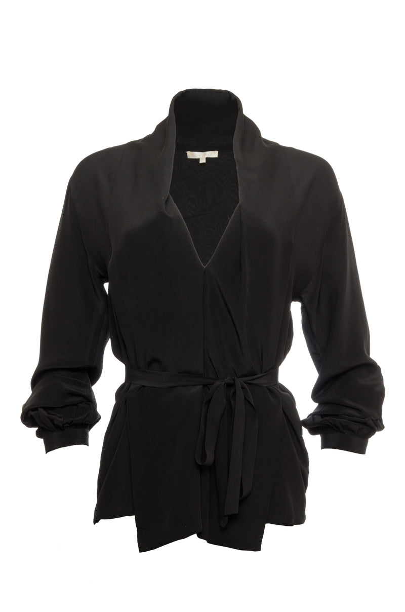 The Silk Crepe Jacket in black.
