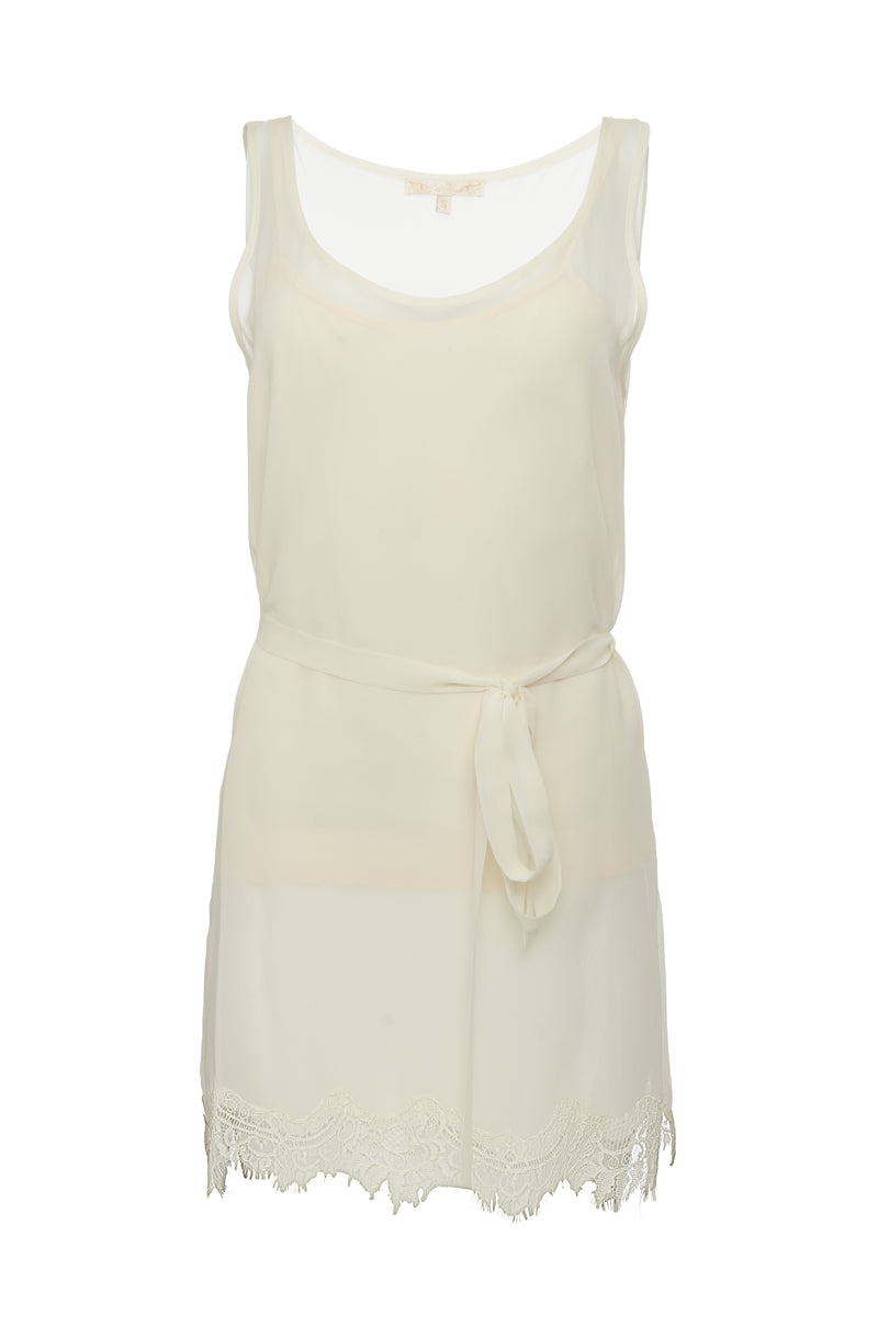The Sheer Silk Tank Top in dove; shown with matching sash worn as belt.