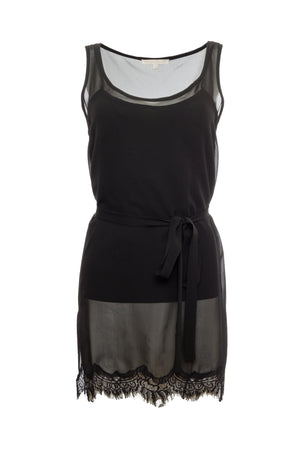The Sheer Silk Tank Top in black; shown with matching sash worn as belt.