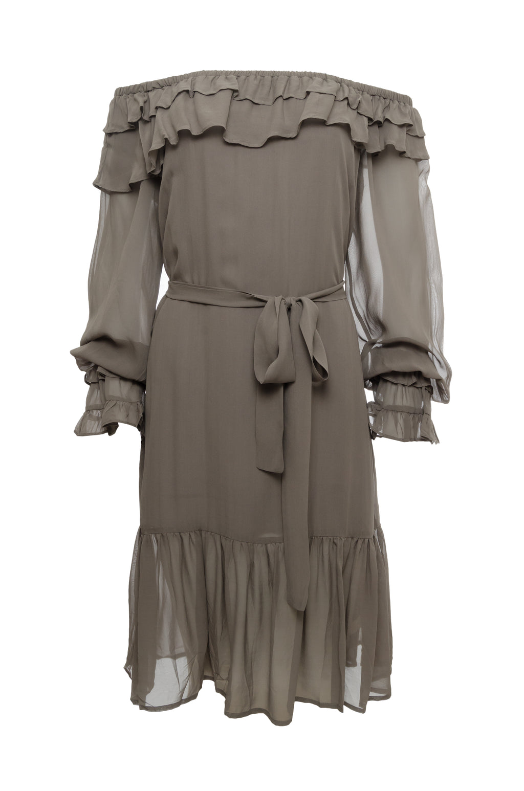 The Mila Silk Ruffle Dress in steeple grey; shown with matching sash worn as belt.