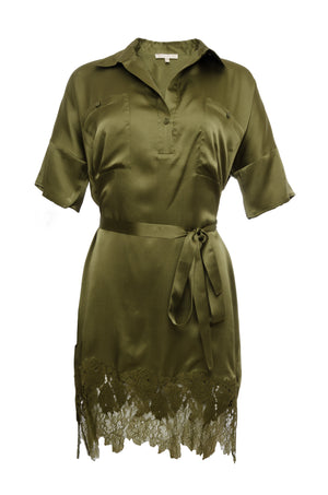 The Hammered Silk Lace Dress in olive. Shown with matching sash as belt.