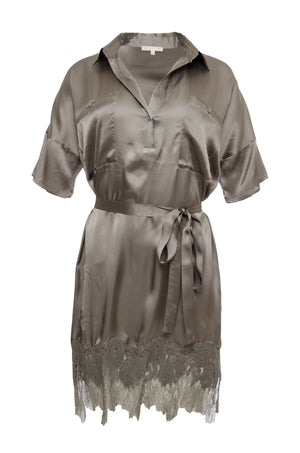 The Hammered Silk Lace Dress in steeple grey. Shown with matching sash as belt.