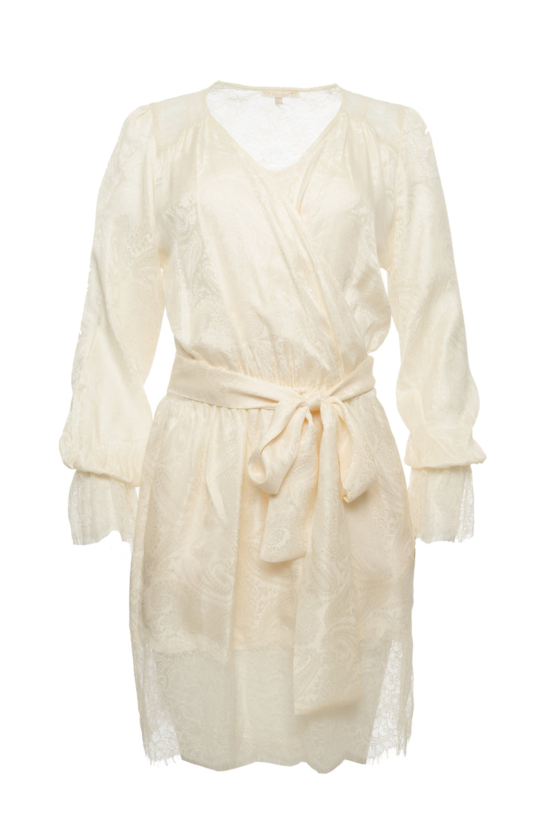 Emma Silk Jacquard Belted Dress