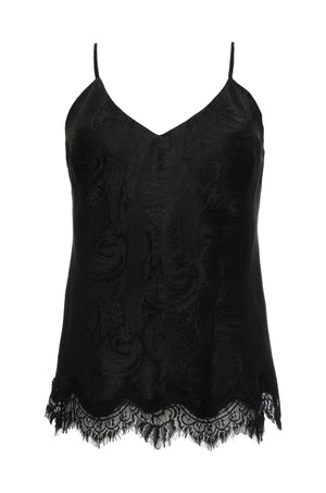 The Emma Silk Jacquard Cami in black.