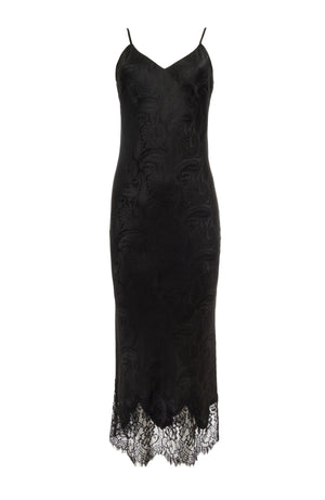 The Emma Silk Jacquard Slip Dress in black.