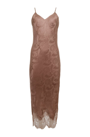 The Emma Silk Jacquard Slip Dress in rose taupe.