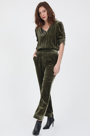 Velvet Ruched Sleeve Jumpsuit