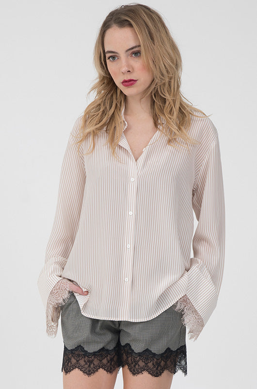 Stripe Lace Long Sleeve Shirt