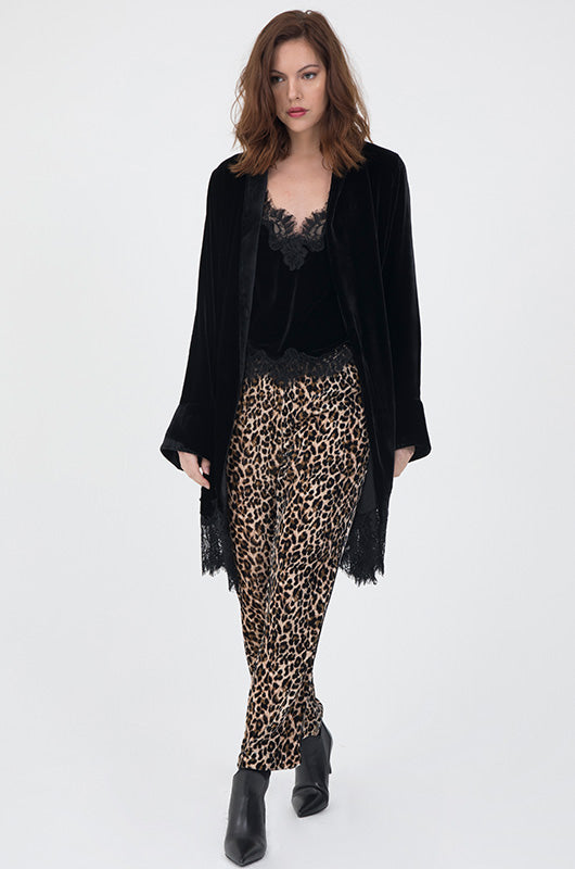 Animal Print Velvet Ginger Piping Pants