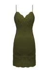 The Vintage Lace Silk Slip Dress in olive.