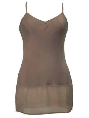 The Sheer Edge Silk Tunic in mocha.