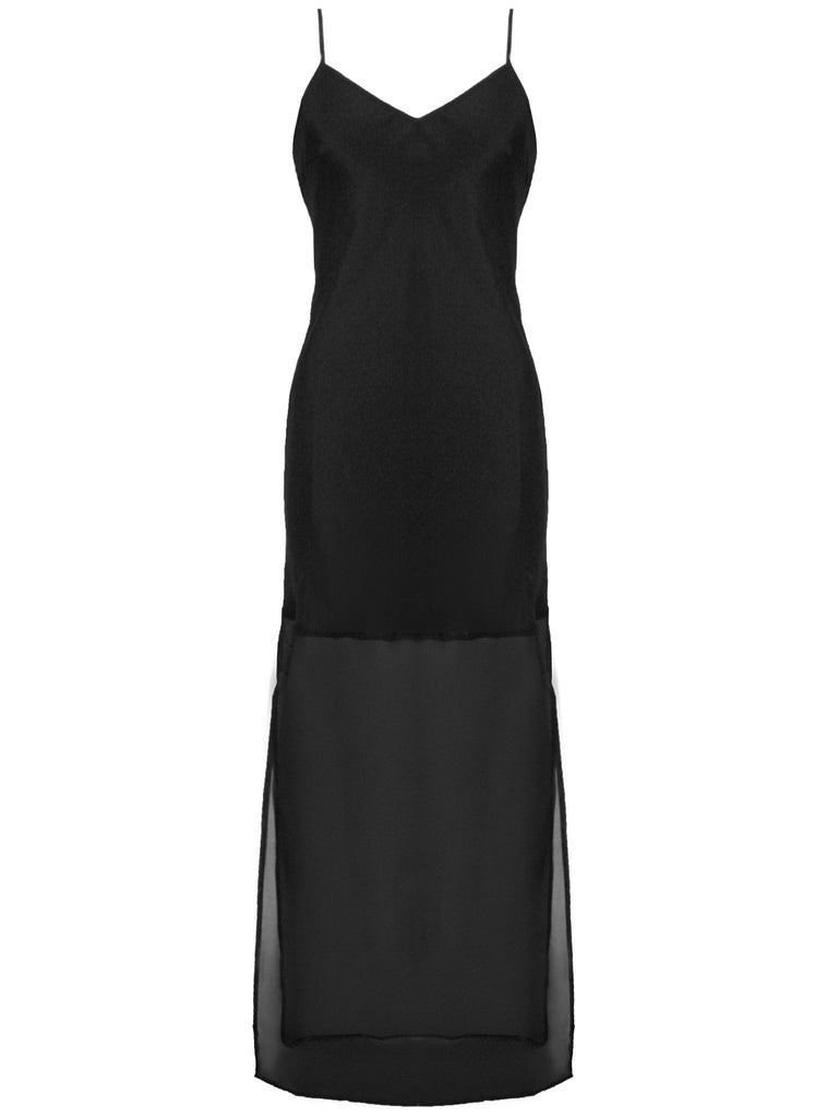 Sheer Edge Silk Slip Dress