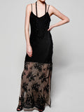 Long Lace Silk Slip Dress