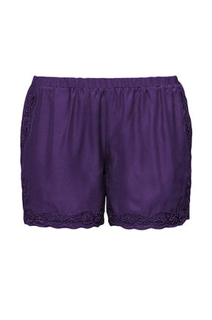 The Classic Lace Modern Silk Shorts in purple jewel.