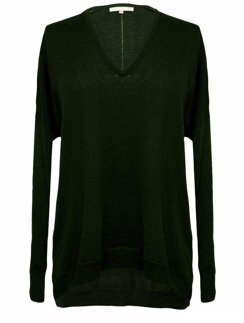 The V-Neck Wedge Sweater in hunter green.