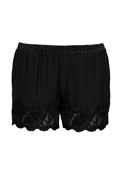 The Marilyn Lace Silk Shorts in black.