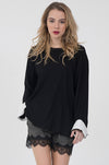 Contrast Cuff Long Sleeve Top