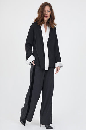 Model is wearing the Menswear Plaid Pants in charcoal with the Coco Lace Silk Straight Cami in white, with the Smock Wrap Shirt Kimono worn on top without the belt. Also worn with pointed toe, black, high heel ankle boots.