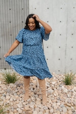 Fall Fancy Tiered Dress In Blue Dawn