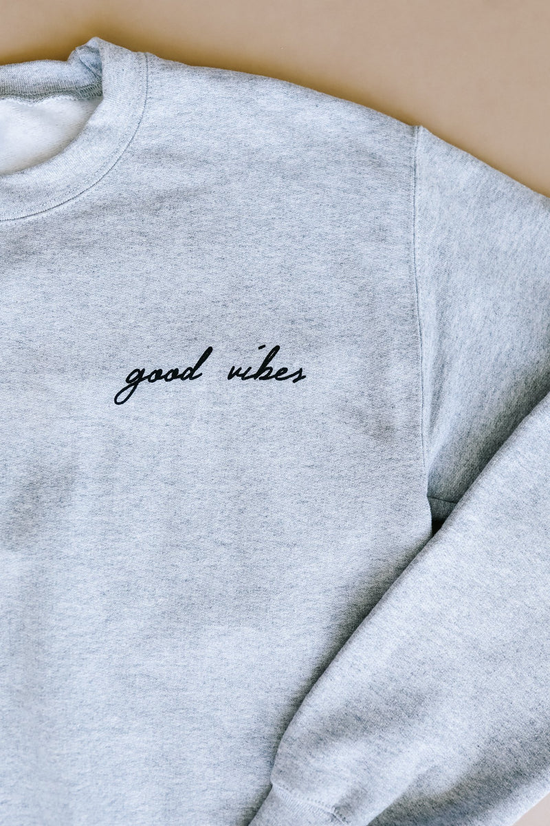 Good Vibes Heather Gray Sweatshirt - Amaranth Collection