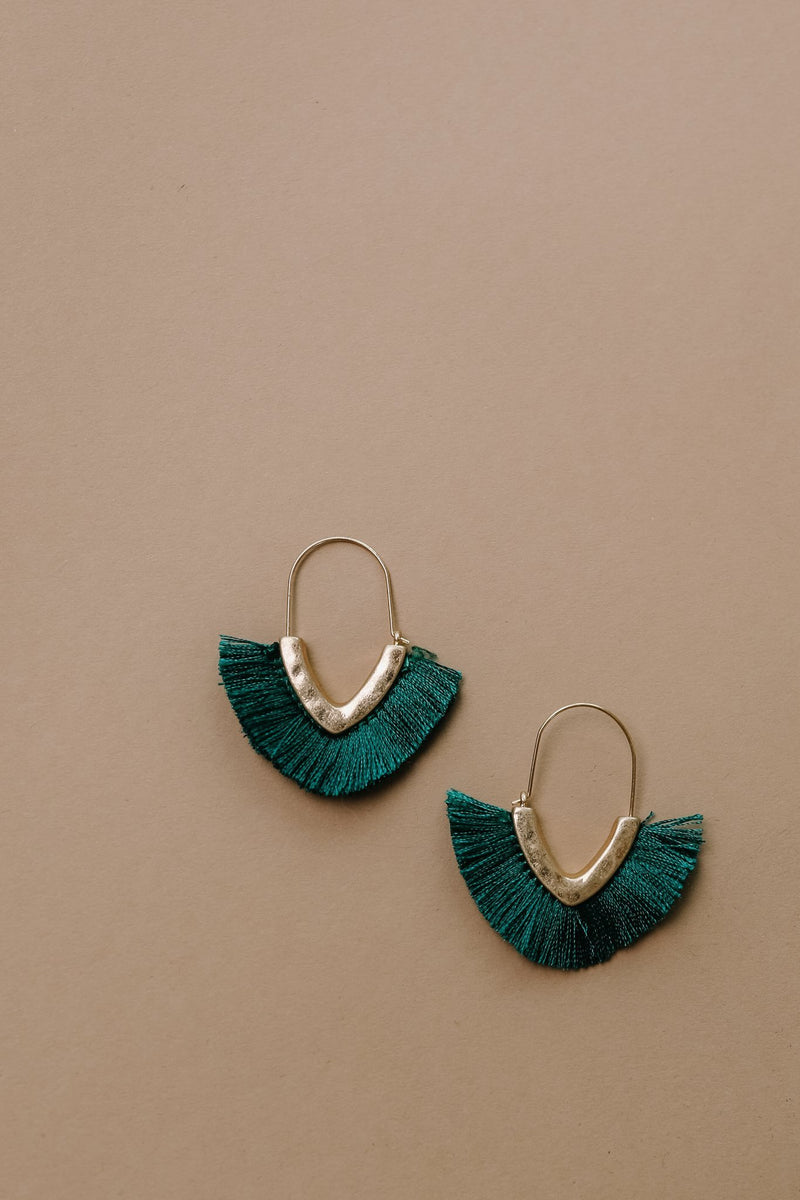 Tasseled V Earrings In FOREST GREEN - Amaranth Collection