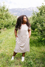 Striped Drawstring T-Shirt Dress - Amaranth Collection