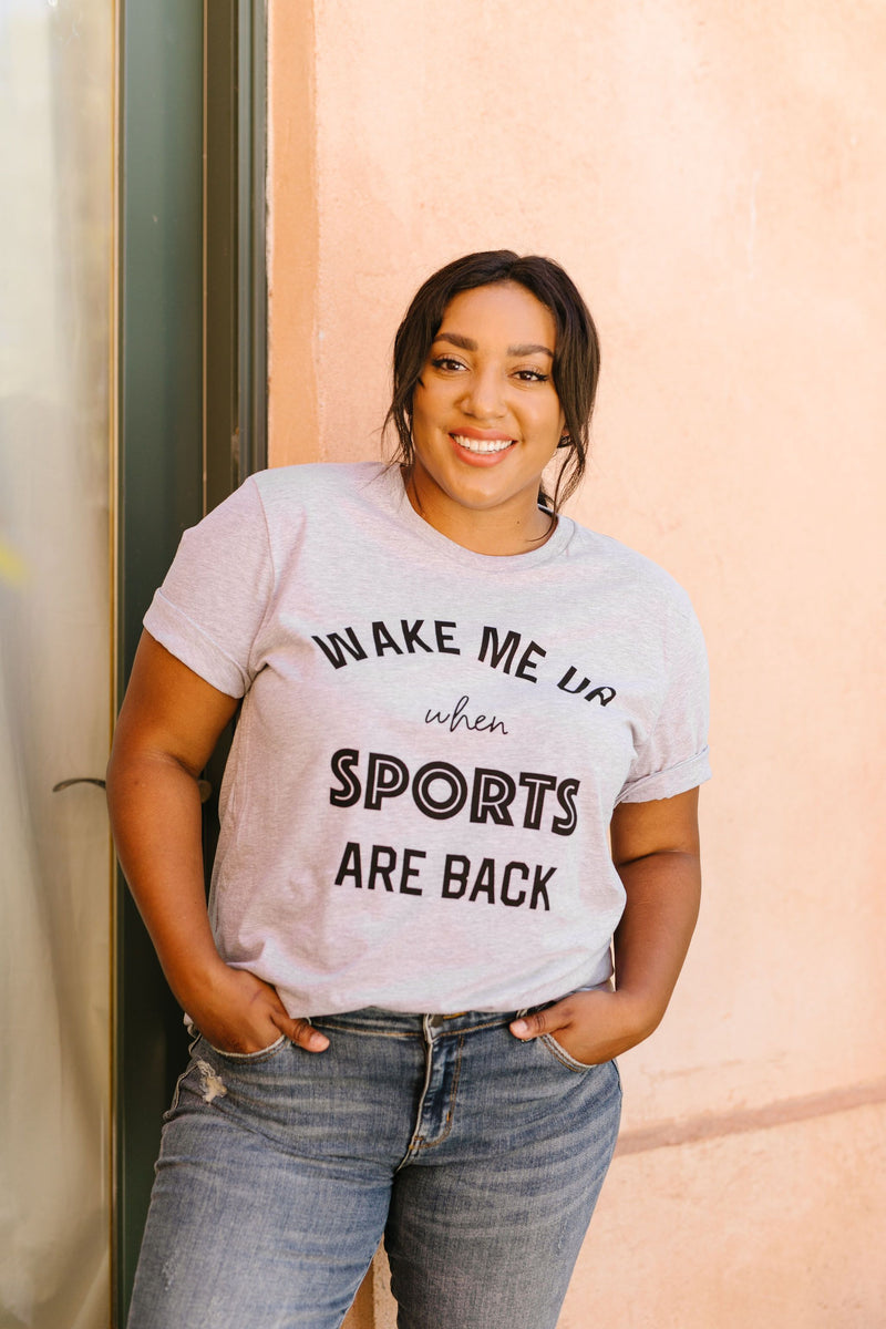 Wake Me Up When Sports Are Back Graphic Tee - Amaranth Collection
