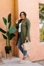 Between Seasons Cardigan In Olive - Amaranth Collection